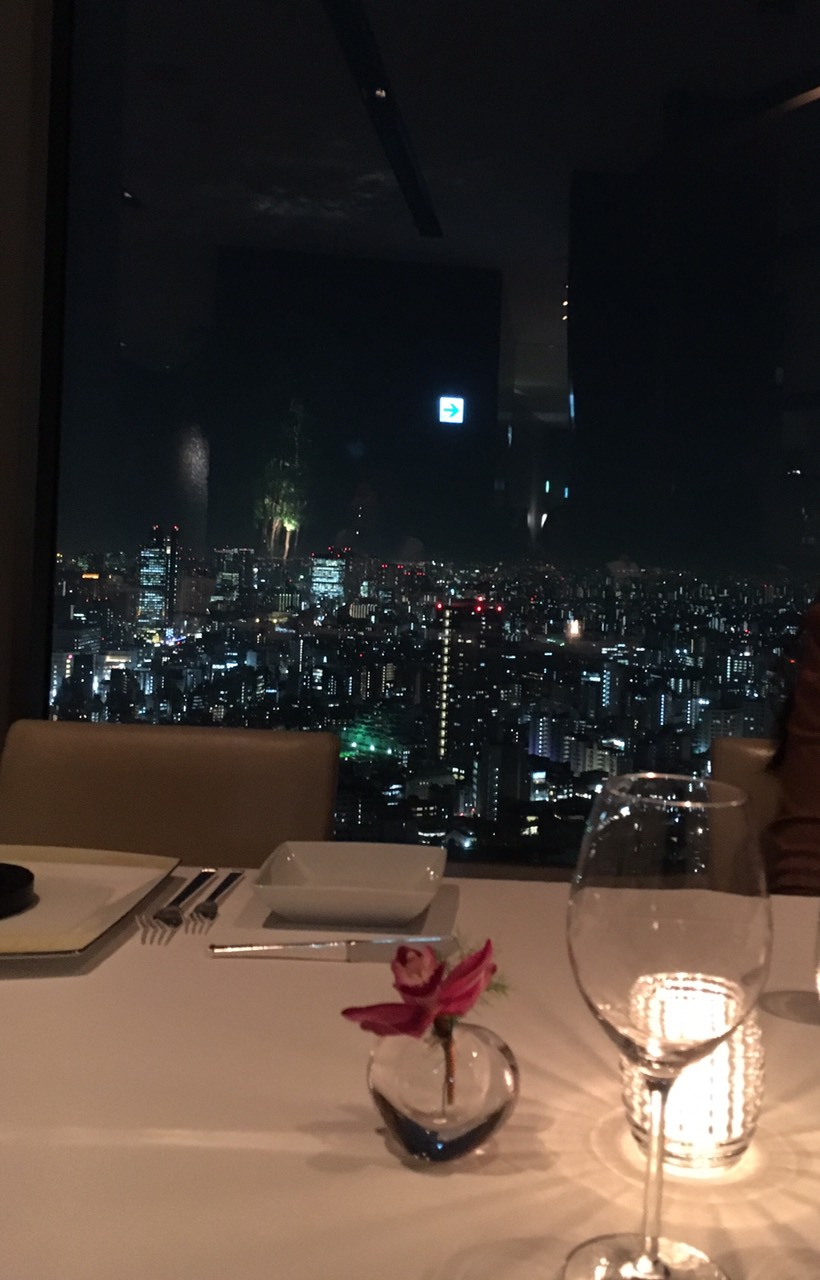 夜景ディナーで忘年会